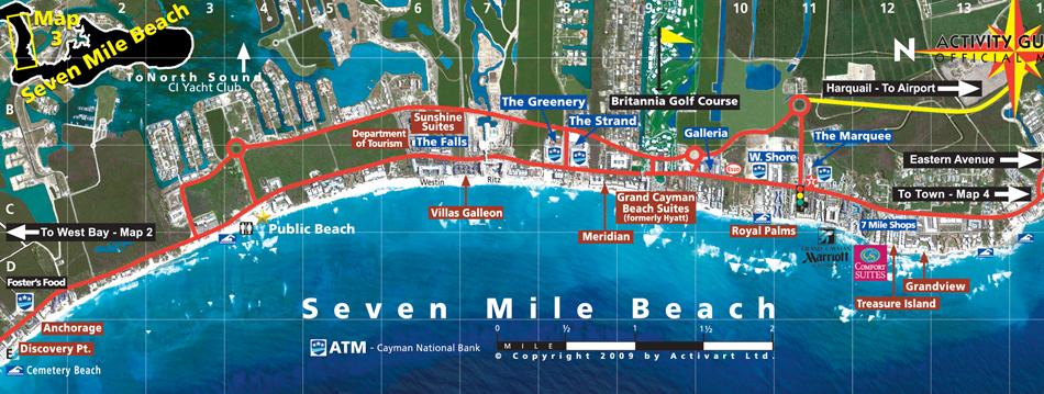 Cayman seven mile beach tourist map