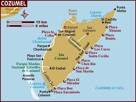 Mexico cozumel map