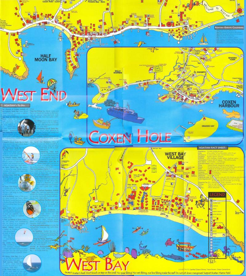 Roatan map by area