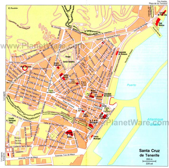 Santa cruz de tenerife map
