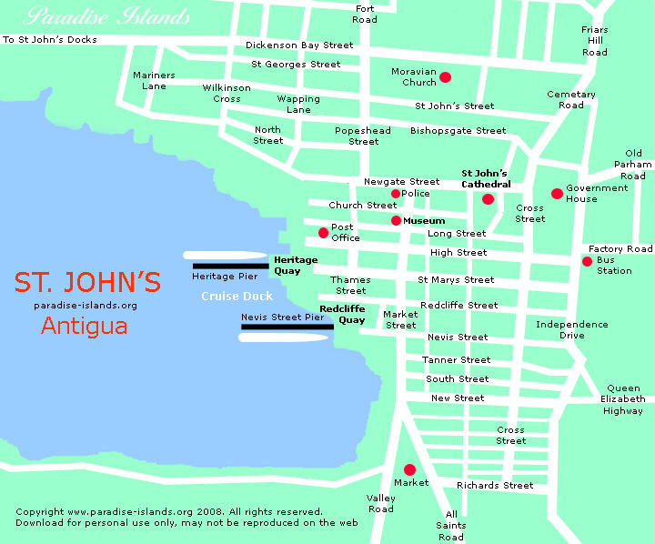 St johns antigua map