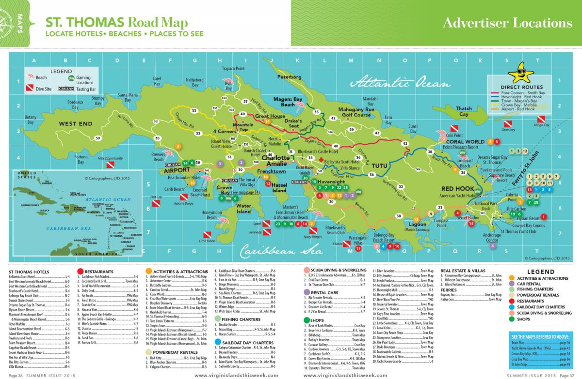 St thomas island road map