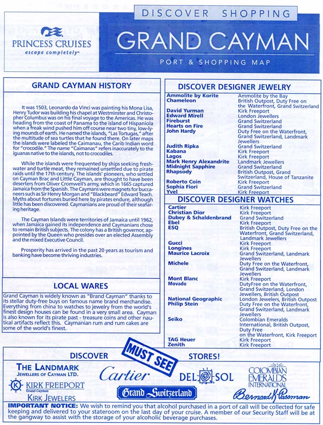Star princess grand cayman port and shopping map 1